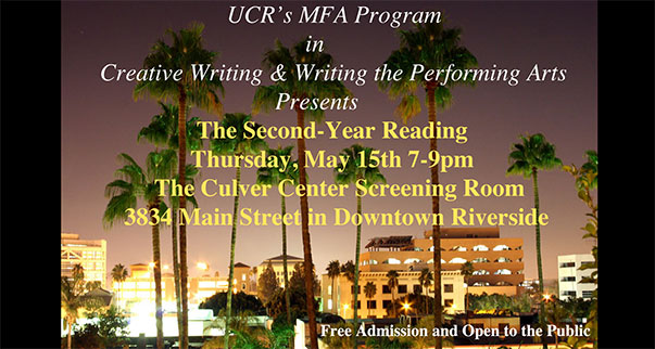 ucr creative writing mfa How to apply financial support opportunities graduate student english comparative literature, american studies, ethnic studies) an mfa will count towards the phd if it includes substantial training relevant to the applicant's proposed they tend to be in creative writing or film.